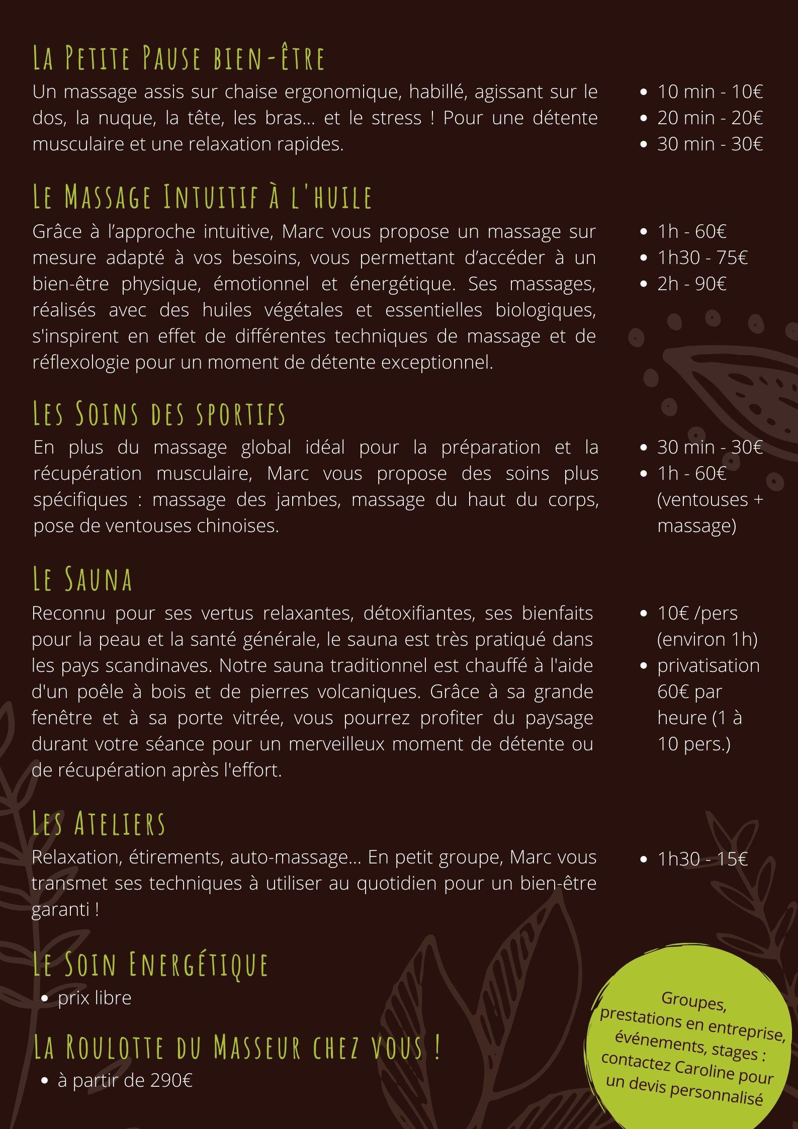 Nos services - La Roulotte du Masseur